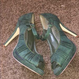 Green suede open toe heels